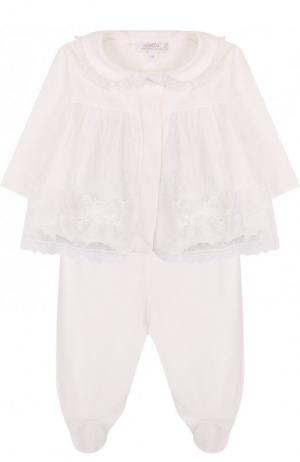 Хлопковый комплект из брюк и распашонки Aletta. Цвет: бежевый