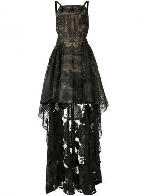 Асимметричное кружевное платье с розами Marchesa Notte. Цвет: чёрный