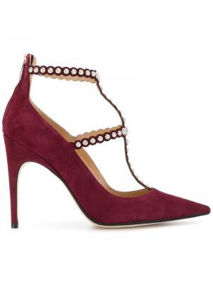 Туфли-лодочки с заостренным носком и заклепками Sergio Rossi. Цвет: красный