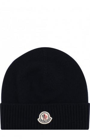 Шерстяная шапка с логотипом бренда Moncler. Цвет: темно-синий
