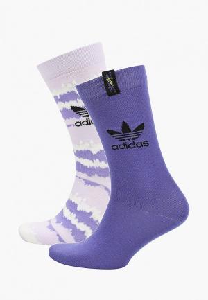 Носки 2 пары adidas Originals. Цвет: фиолетовый