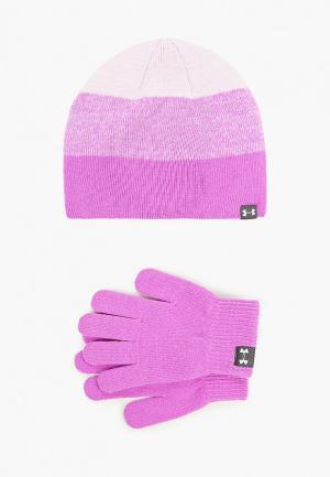 Шапка и перчатки Under Armour. Цвет: фиолетовый