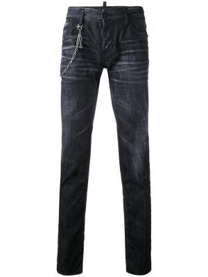 Прямые джинсы с цепочкой Dsquared2. Цвет: чёрный