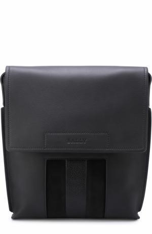 Кожаная сумка-планшет с замшевой отделкой Bally. Цвет: черный