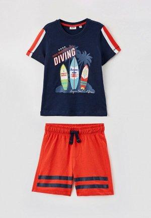 Футболка и шорты Blukids. Цвет: разноцветный