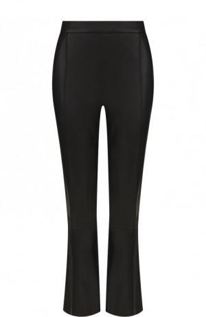 Укороченные кожаные брюки с карманами DROMe. Цвет: черный