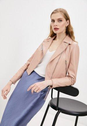 Куртка кожаная Blouson. Цвет: розовый