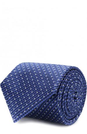 Шелковый галстук с узором Canali. Цвет: темно-синий