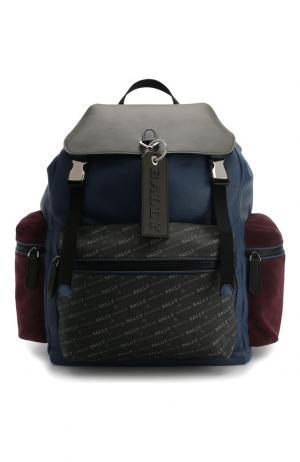 Кожаный рюкзак Crew с внешними карманами на молнии Bally. Цвет: синий