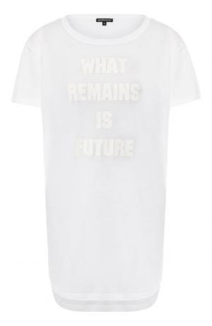 Хлопковая футболка с надписью Ann Demeulemeester. Цвет: белый