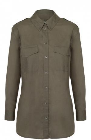 Блуза прямого кроя с накладными карманами Equipment. Цвет: зеленый