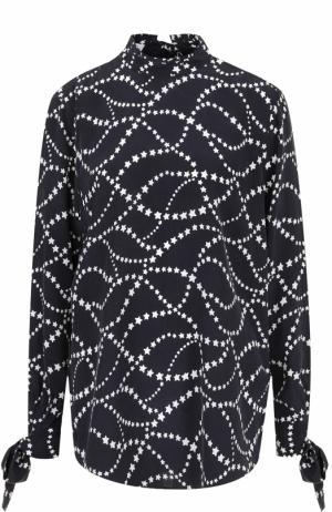 Шелковая блуза с воротником-стойкой и бантами на рукавах Equipment. Цвет: черный