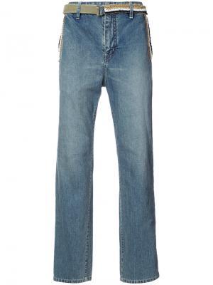 Широкие джинсы с поясом Sacai. Цвет: синий