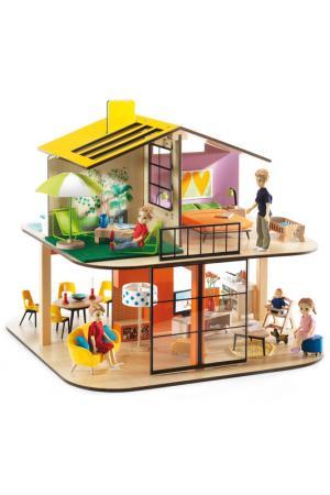 Дом цветной для кукол Djeco. Цвет: бордовый