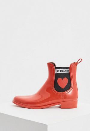 Резиновые полусапоги Love Moschino. Цвет: красный