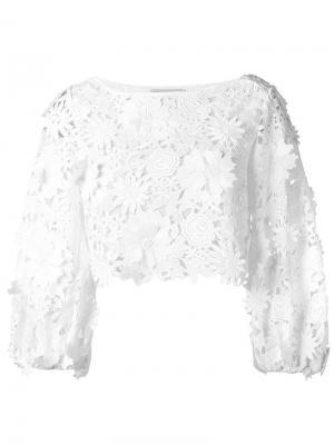 Блузка с вышивкой Milly. Цвет: белый