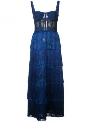 Длинное платье-бюстье с люрексом Missoni. Цвет: синий