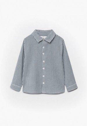 Рубашка Mango Kids. Цвет: серый