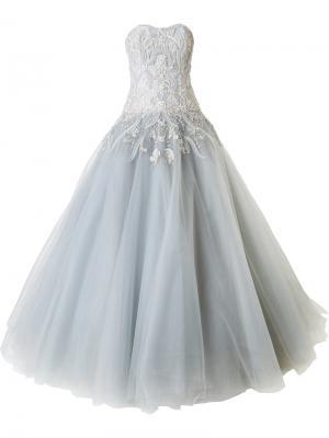 Декорированное бальное платье без бретелей Marchesa. Цвет: серый