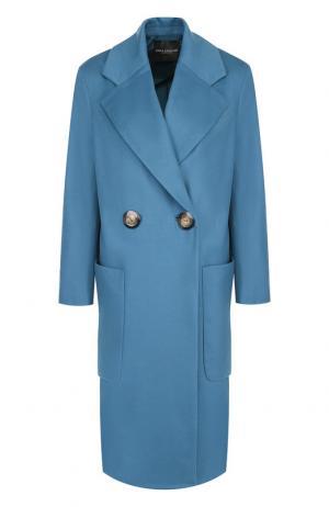 Пальто из смеси шерсти и кашемира Erika Cavallini. Цвет: голубой