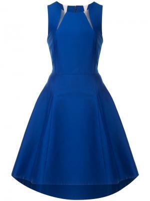 Платье с фигурным вырезом Halston Heritage. Цвет: синий