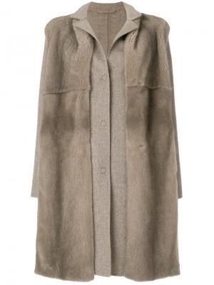 Однобортное пальто со съемным меховым воротником Manzoni 24. Цвет: телесный