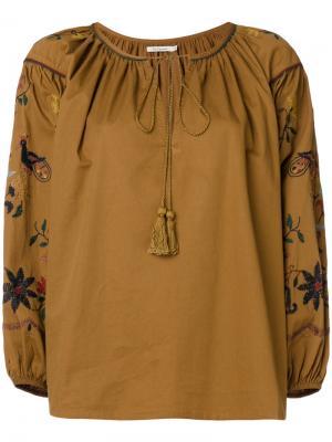 Блузка с вышивкой Hansel Mes Demoiselles. Цвет: коричневый