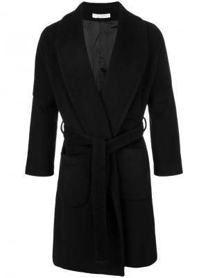 Однобортное пальто с поясом Lucio Vanotti. Цвет: чёрный