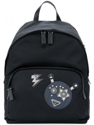 Рюкзак с изображением робота Prada. Цвет: чёрный