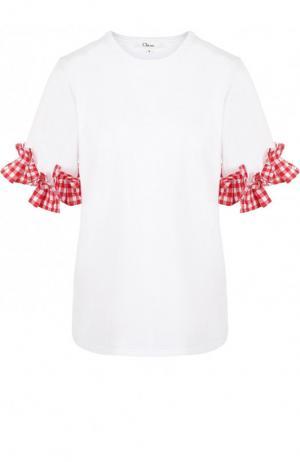 Хлопковая футболка с контрастными оборками Clu. Цвет: белый