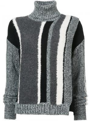 Полосатый свитер с высоким воротом Yigal Azrouel. Цвет: чёрный
