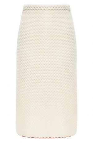Вязаная юбка-миди из шерсти Marni. Цвет: белый