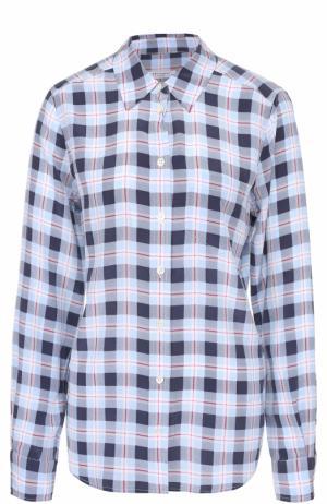 Шелковая блуза прямого кроя в клетку Equipment. Цвет: голубой