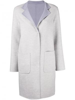 Пальто средней длины с накладными карманами Manzoni 24. Цвет: серый
