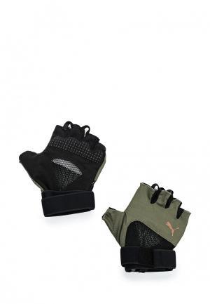 Перчатки для фитнеса PUMA. Цвет: хаки