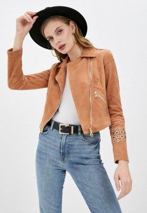 Куртка кожаная Patrizia Pepe. Цвет: коричневый