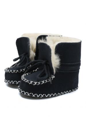 Замшевые пинетки на шнуровке Polo Ralph Lauren. Цвет: синий