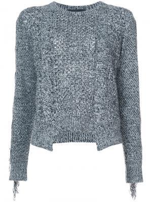 Вязаный свитер с бахромой Yigal Azrouel. Цвет: чёрный