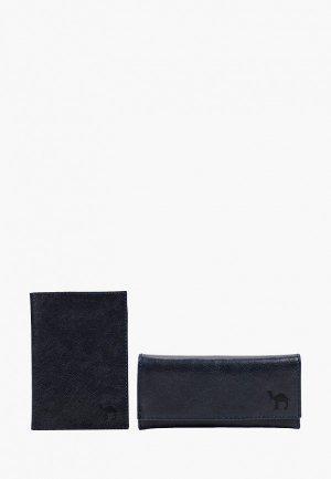 Обложка для документов и ключница Dimanche. Цвет: синий