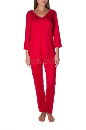 Брюки пижамные ROSE&PETAL HOMEWEAR. Цвет: красный