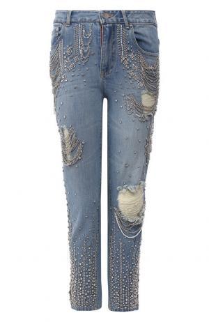 Укороченные джинсы с декоративной отделкой Alice + Olivia. Цвет: синий