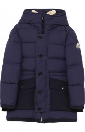 Пуховая куртка с текстильной отделкой и капюшоном Moncler Enfant. Цвет: синий