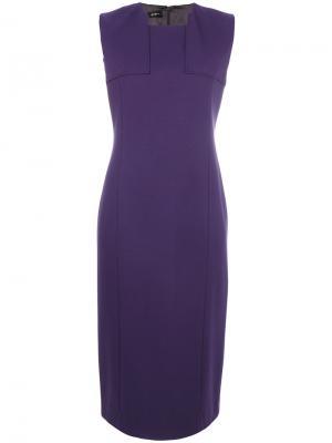 Классическое приталенное платье миди Les Copains. Цвет: розовый и фиолетовый