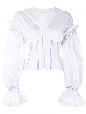 Рубашка с корсетом и пышными рукавами Jonathan Simkhai. Цвет: белый