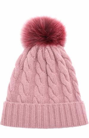 Кашемировая шапка фактурной вязки с меховым помпоном Kashja` Cashmere. Цвет: розовый