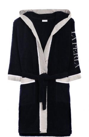 Хлопковый халат с капюшоном La Perla. Цвет: синий