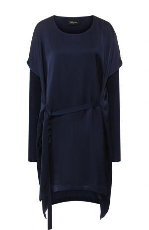 Однотонное платье с поясом Roque. Цвет: темно-синий