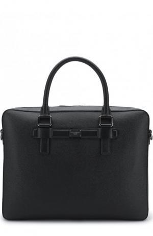 Кожаная сумка для ноутбука Mediterraneo с плечевым ремнем Dolce & Gabbana. Цвет: черный