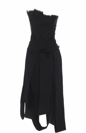 Джинсовое платье-бюстье асимметричного кроя Isabel Benenato. Цвет: черный