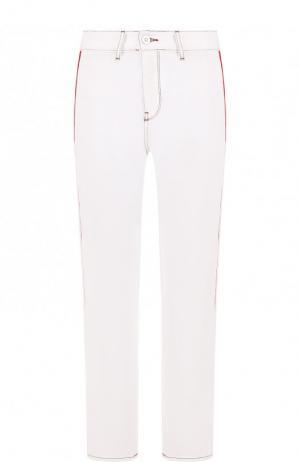 Укороченные джинсы прямого кроя с лампасами Etre Cecile. Цвет: белый